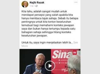 Penjelasan Najib di Facebookny.