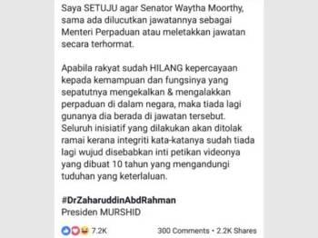Perkongsian Zaharuddin di Facebooknya