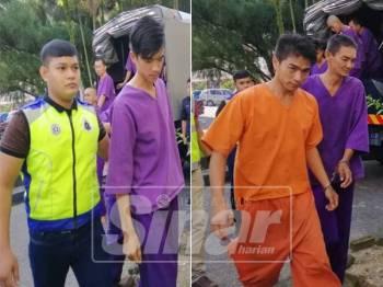 Ketiga-tiga tertuduh dibawa ke Mahkamah Majistret Teluk Intan, hari ini.