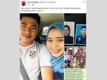 Nurul Najihah memuatkan status yang turut disertakan dengan gambar mereka berdua di FBnya hari ini.