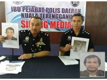 Suffian (kiri) menunjukkan gambar suspek yang diburu kerana disyaki aktif dalam kegiatan mencuri motosikal, manakala Pegawai Penyiasat Kanan, Jabatan Siasatan Jenayah Ibu Pejabat Polis Daerah (IPD) Kuala Terengganu, Asisten Superintendan Mohd Nazri Mohd Yusof menunjukkan gambar yang dirakam dalam CCTV di kawasan berhampiran.