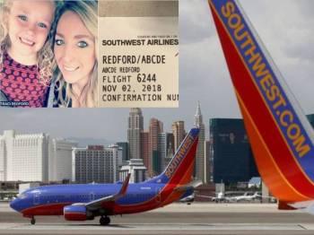 Syarikat penerbangan Southwest Airlines meminta maaf susulan insiden kakitangannya mengejek nama seorang penumpang kanak-kanak berusia lima tahun, (gambar kecil) Traci Redford dan anak perempuannya, Abcde. - Foto abc7.com/BBC