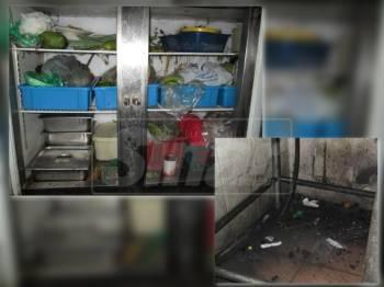 Keadaan peti sejuk kedai makan yang diarah tutup selepas pemeriksaan mengejut dilakukan Pejabat Kesihatan Kemaman. ( Gambar Bawah ) Lantai di bahagian dapur kedai makan berkenan hitam dan sangat kotor.