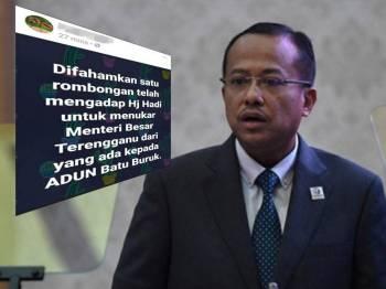 Mesej yang ditularkan semalam mengenai dakwaan wujudnya kumpulan yang ingin menggantikan Menteri Besar Terengganu, Dr Ahmad Samsuri Mokhtar kepada Adun Batu Burok, Muhammad Khalil Abdul Hadi.