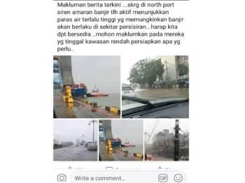 Mesej yang tular di laman sosial semalam mengenai siren amaran banjir yang dikatakan telah diaktifkan Northport