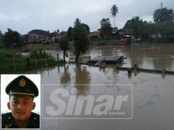 Air Sungai Golok mula melimpahi tebing apabila hujan turun sejak dua hari lalu. (Gambar kecil: Mohd Adni)