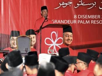 Muhyiddin berucap pada Perasmian Konvensyen Bersatu Negeri Johor 2018 hari ini. - Foto Bernama