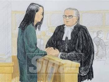 Lukisan ilustrasi menunjukkan Wanzhou (kiri) ketika bercakap dengan peguam David Martin di kamar mahkamah di Vancouver, British Columbia pada Isnin lalu.