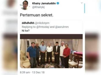 Kadir melalui Facebooknya menjelaskan bahawa gambar tersebut diambil ketika pertemuan bersama Dr Mahathir pada 22 Oktober lalu.