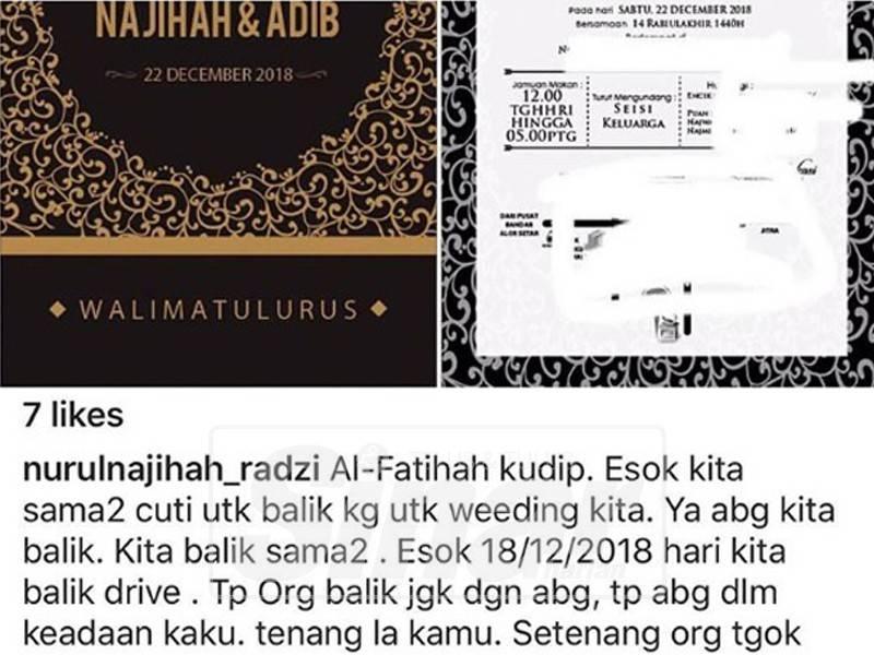 Catatan tunang Muhammad Adib di laman Instagram miliknya.
