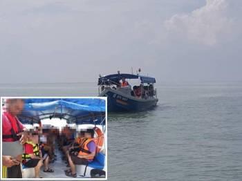 Bot penumpang membawa lebih muatan ditahan pada jarak lebih kurang 6.4 batu nautika barat Jeram, semalam. - Foto IHSAN MARITIM
