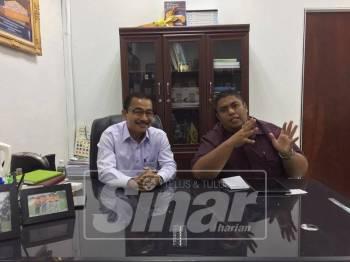Noor Azmi (kiri) bersama wartawan Sinar Harian Khairil Anwar semasa Sinar Live hari ini.