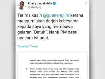 Paparan skrin ciapan Khairy Jamaluddin di laman mikro Twitter milknya, hari ini.