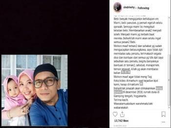 Instagram  Cindri Wahyuni dan Bani.