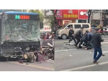 Sebuah bas yang dirampas melanggar pejalan kaki di bandar Longyan, Fujian (kiri) dan pihak polis menahan seorang suspek, seorang warga tempatan. - Foto  Sina.com