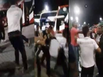 Video insiden pergaduhan yang berlaku jam  1.30 pagi semalam antara kakitangan gerai Kawasan R&R Gambang arah timur dengan seorang pemandu bas ekspres