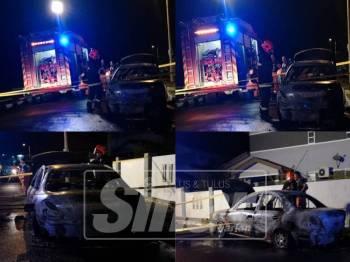 Keadaan kereta yang hangus 100 peratus di Taman Jasper Jaya, Seremban, malam ini.