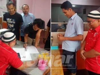 Mohamad Farid melihat kakitangan AADK Yan melakukan pemeriksaan urin ( Gambar kanan: Kakitangan AADK Yan sentiasa memberi kerjasama baik dalam melakukan pemeriksaan ke atas diri mereka)