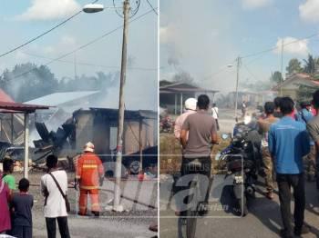 Lot rumah dihuni dua keluarga yang terlibat dalam kebakaran di Kanchong Darat Banting, pagi tadi.