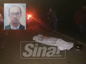 Mangsa meninggal dunia di lokasi kejadian selepas melanggar seekor kerbau. (Gambar kecil:Mohd Jafri Mohd Kassim)