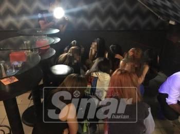 Antara wanita warga asing yang ditahan hasil serbuan ke atas pusat hiburan berkenaan.