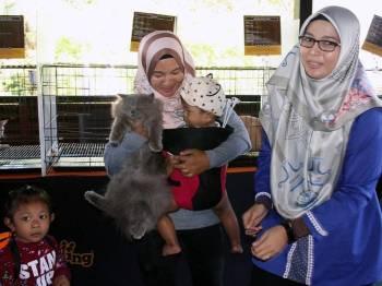 Seorang peminat kucing, Roziah Mohd Tahir, 33, (tengah) leka memegang seekor kucing sambil mengendong seorang bayi pada Program Eksplorasi Kucing di Galeri Perbandaran Taiping hari ini. Foto: Bernama