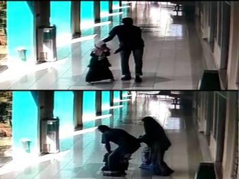 Gambar atas: Suspek berpatah balik ke arah mangsa sebelum cuba menariknya. Gambar bawah: Suspek menarik mangsa sebelum diselamatkan seorang wanita dipercayai ibu mangsa yang melihat kejadian.