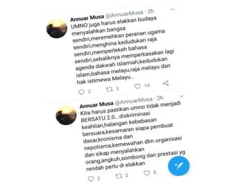 Annuar mengingatkan ahli Umno agar tidak mengamalkan sikap seperti mana yang dilakukan Bersatu.