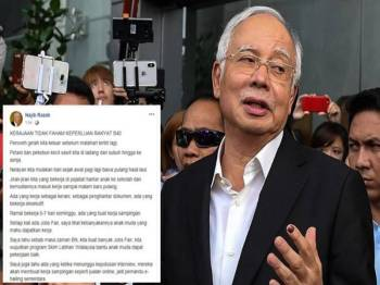 Paparan skrin kenyataan bekas Perdana Menteri, Datuk Seri Najib Tun Razak di laman sosial Facebooknya.