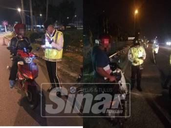 Polis memeriksa dokumen penunggang motosikal semasa sekatan jalan raya di Jalan Klang-Banting-Port Dickson dan Jalan Persiaran Majlis malam tadi.