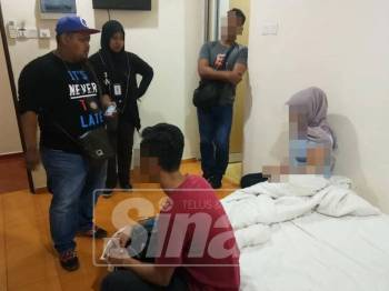 Antara pasangan yang ditahan ketika serbuan Ops Ambang di hotel bajet sekitar bandar raya ini.