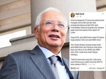 Najib hairan kenapa ramai yang percaya propaganda bahawa Malaysia akan jadi Sri Lanka kerana projek ECRL.