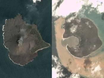 Gambar kiri: Anak Krakatau yang diambil pada 17 Disember menunjukkan keadaan gunung berapi itu sebelum ia meletus beberapa hari kemudian. Gambar kanan: Gunung berapi tersebut kehilangan dua pertiga daripada ketinggiannya.
