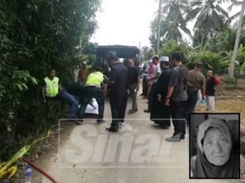 Mayat Normah Hayati  ditemui mati di dalam parit kemudian dibawa ke Hospital Besut untuk bedah siasat petang ini.