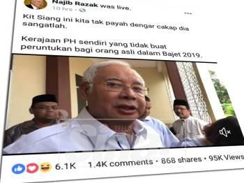 Paparan skrin kenyataan dibuat Najib di laman Facebooknya, hari ini.