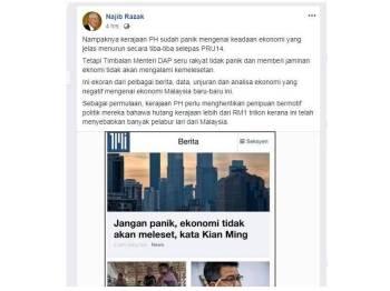 Paparan skrin perkongsian Najib di laman Facebooknya, hari ini.