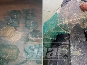 Bubu naga yang dipasang secara haram ditemui di perairan Laut Sekinchan dalam Op Pensura, semalam.