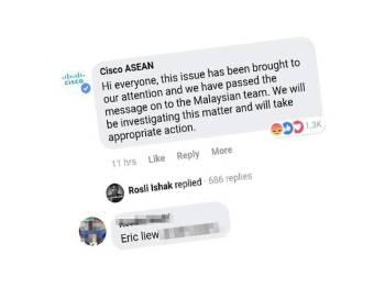 Paparan skrin kenyataan syarikat berkenaan di laman sosial Facebook.