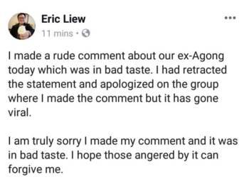 Paparan skrin kenyataan Eric Liew di laman sosial Facebook miliknya, hari ini.