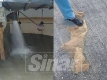Bahan plastik yang ditemui pada katup apung keluar di tangki utama menjadi punca berlakunya masalah bekalan air di PPR Krubong, sejak, Khamis lalu.