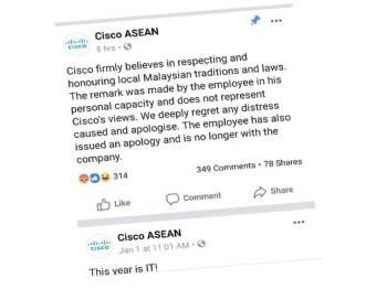 Kenyataan Cisco Asean yang dikeluarkan menerusi platform rasmi Facebook mereka.