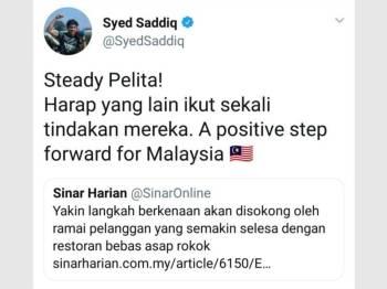 Syed Saddiq berharap agar lebih ramai pengusaha kedai makan mengikut langkah dilakukan Restoran Pelita untuk menghentikan jualan rokok di premis masing-masing.