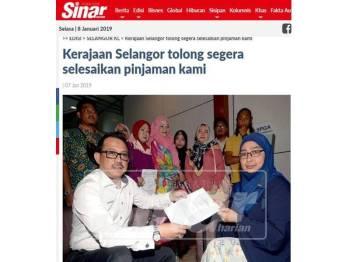 Laporan akhbar semalam mengenai kira-kira 15 individu mewakili 107 usahawan Melayu cawangan Petaling Jaya Utara  menggesa kerajaan negeri Selangor menyegerakan pembayaran pinjaman Hijrah Selangor