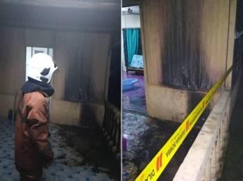 Dinding rumah mangsa terbakar dipercayai akibat perbuatan khianat. - Foto BBP Sungai Pinang