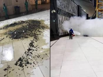 Pasukan pembersihan melakukan kerja penghapusan serangga di sekitar Masjidil Haram. - Foto Twitter