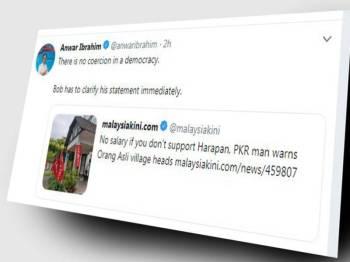 Ciapan Anwar di laman mikro Twitternya, hari ini.