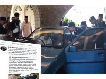 Keratan video yang menunjukkan Osman sedang membuka pintu belakang Proton Saga dipandu Sultan Ibrahim, kelmarin.