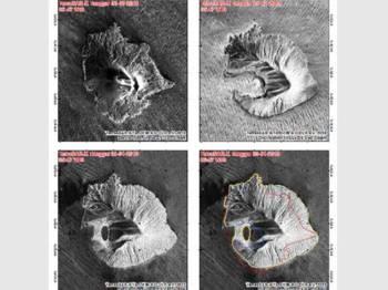 Gabungan gambar menunjukkan Anak Krakatau muncul kembali selepas ia dilaporkan hilang dua pertiga ketinggiannya.