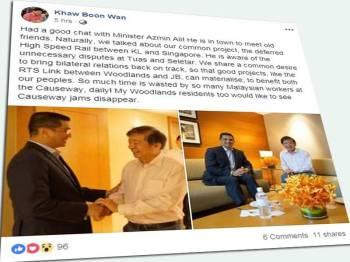 Paparan Facebook Khaw Boon Wan.