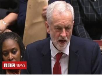 Jeremy Corbyn kemuka undi tidak percaya ke atas kerajaan May. - Foto BBC